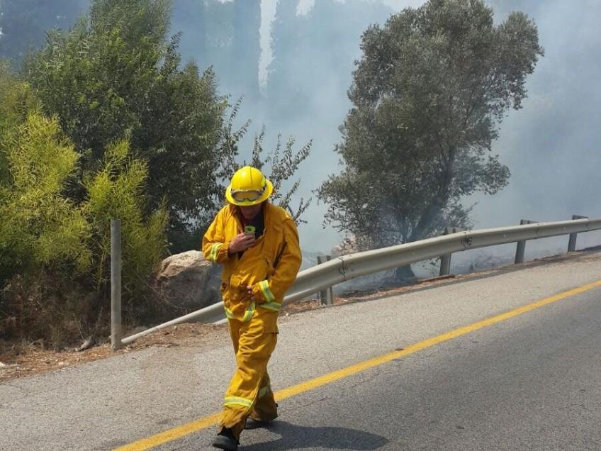 עובדים קשה בקיץ 2015. לוחמי האש בשריפה בכביש 73