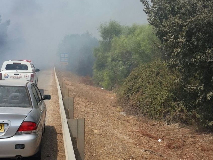 שריפה גרמה לסגירת כביש 73 בין שריד ליפעת