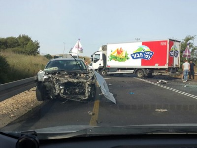 כביש 65: בן 19 שנפצע בתאונה פונה במסוק