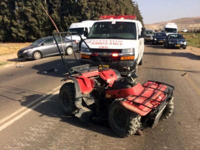 בקעת הירדן: שני פצועים בתאונה בין טרקטורון לרכב