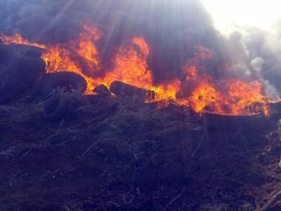 גליל תחתון: שריפת צמיגים ענקית