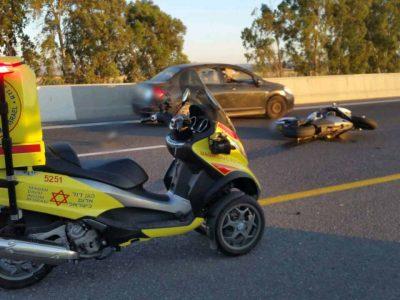 כביש 65 סמוך לכפר תבור: רוכב אופנוע נפגע בתאונה באורח קשה