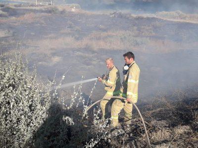 ארבע מטוסי כיבוי פועלים לכיבוי שריפה גדולה בסמוך לכפר רופין
