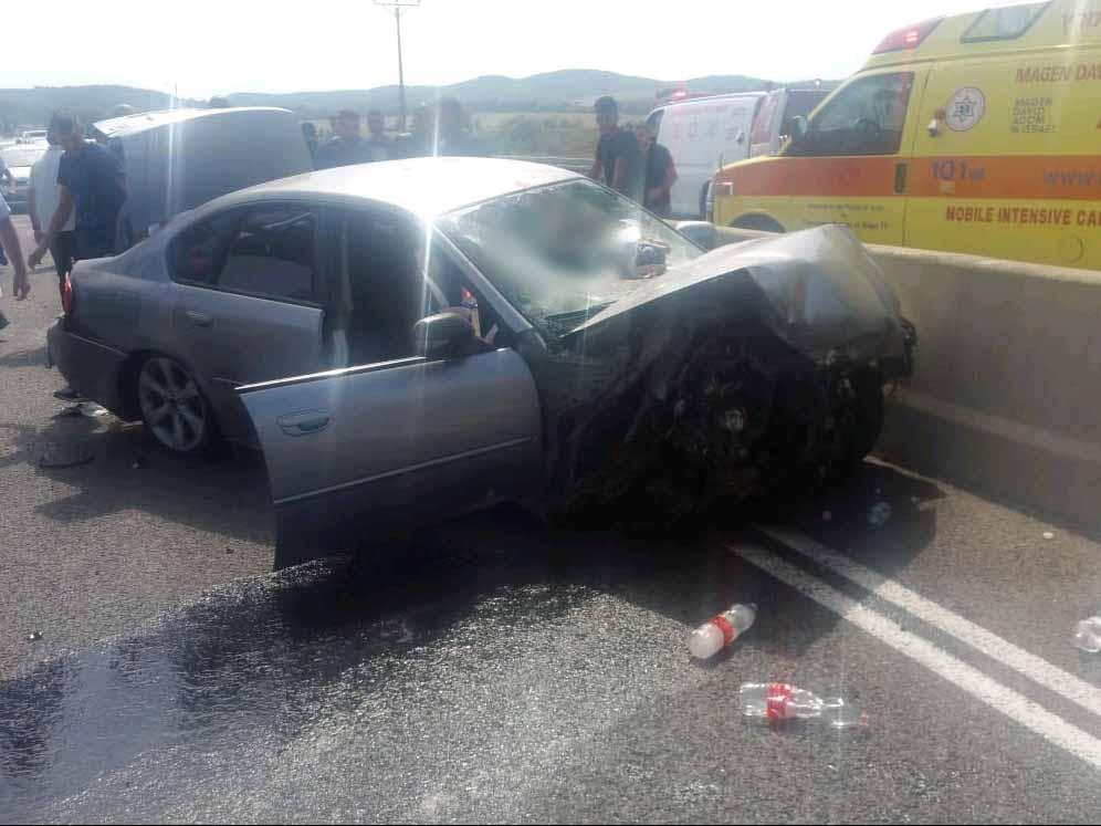 הרכב המעורב בתאונה בכביש 65 לכיוון עפולה