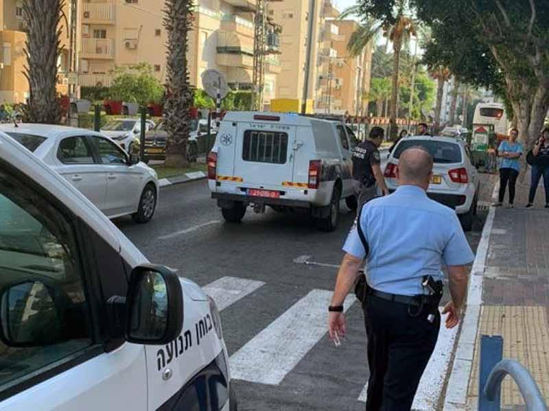 זירת התאונה ברחוב שרת לפני כחודש. צילום דוברות המשטרה