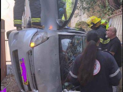 יקנעם: רכב הדרדר מגובה ברחוב הדודאים