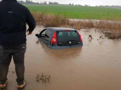 מגידו: כביש 66 נחסם בשל הגשמים הרבים