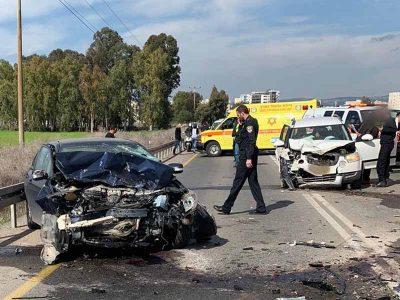 עפולה: שני פצועים בתאונת דרכים ברחוב ירושלים