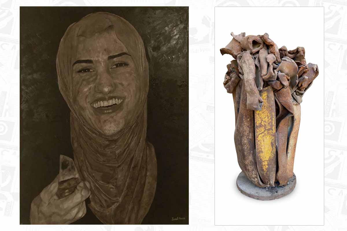 מימין: יעקב דורצ'ין- נוף ים תיכוני. משמאל: ג'אנת אמארה- נאטור סכין יום הולדת