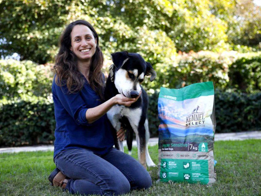 מזון חדשני ופורץ דרך המורכב מחלבון העתידלכלבים עם רגישות למזון