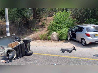 תאונת דרכים בקיבוץ שריד בעמק יזרעאל: נהג קלנועית במצב קשה