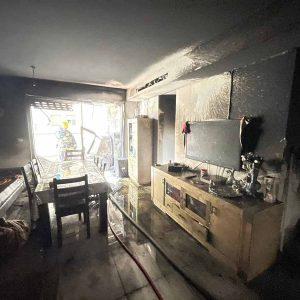 שריפה בדירה ברחוב חטיבת כפיר בשכונת רובע יזרעאל שבעפולה.